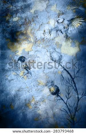 Birds on crackle blue color background - stock photo
