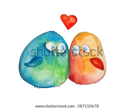 2 birds with heart. Watercolor illustration. Hand drawing - stock photo