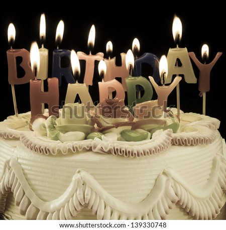 Birthday cake  and candles - stock photo