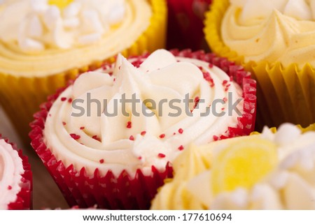 Birthday cupcake with butter cream icing  - stock photo