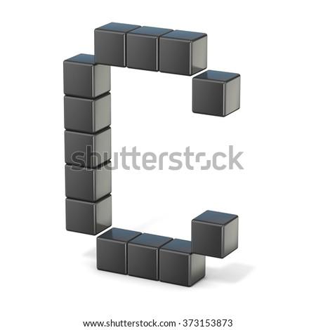 8 bit font. Capital letter C. 3D render illustration isolated on white background