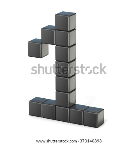8 bit font. Number 1. 3D render illustration isolated on white background - stock photo