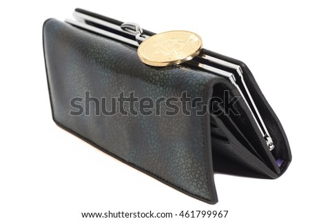 Bitcoin coin on brown purse  isolated on white background