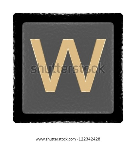 black and gray icon with a leather texture and the letter w