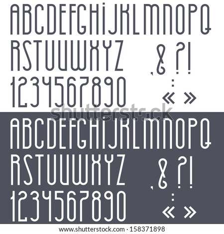 Black and white alphabet,numbers and punctuation marks.Raster version - stock photo
