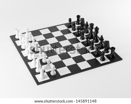 Black and White Chess Board  - stock photo