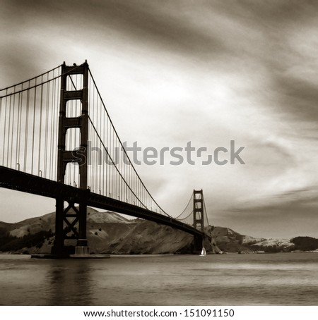 Black and white image of famous golden gate bridge