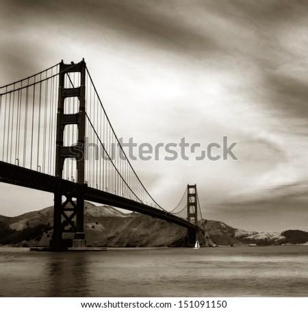Black and white image of famous golden gate bridge - stock photo