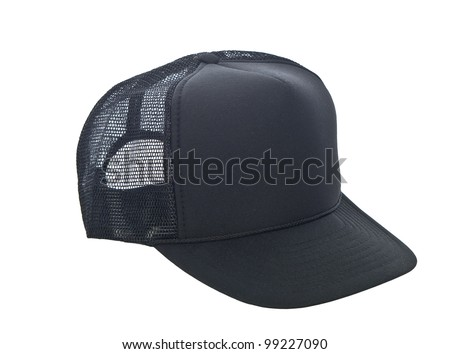 black baseball hat isolated on white - stock photo