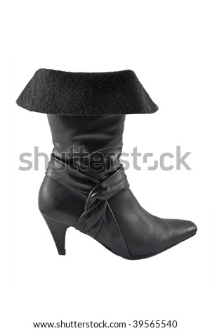 Black female boot isolated on the white background