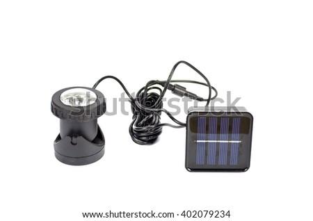 black garden lawn modern solar lamp isolated on white background - stock photo