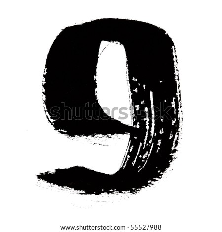 9 - Black ink numbers over the white background - stock photo