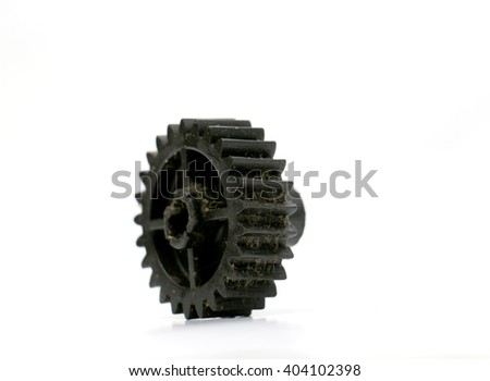 black old plastic dirty cogwheel
