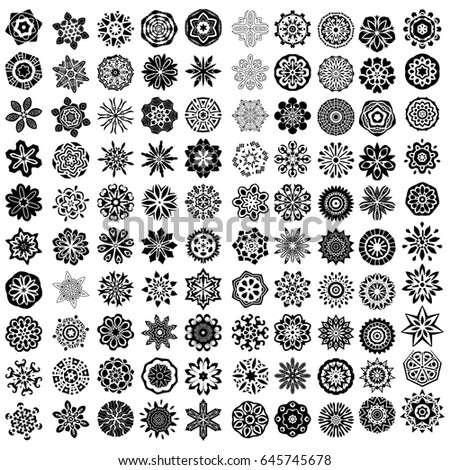 100 black ornamtents isolated over white background