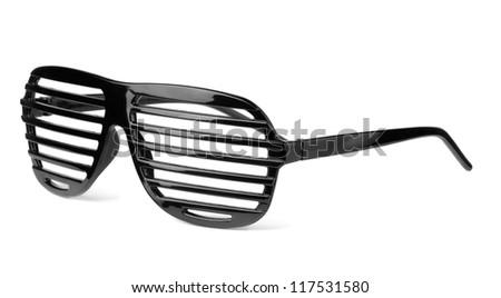 Black plastic shutter shades slatted sunglasses isolated on white - stock photo