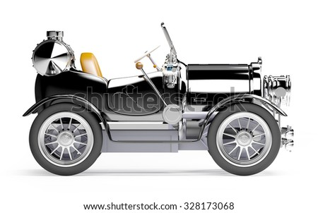 1910 black retro car on a white background in steampunk style side view - stock photo