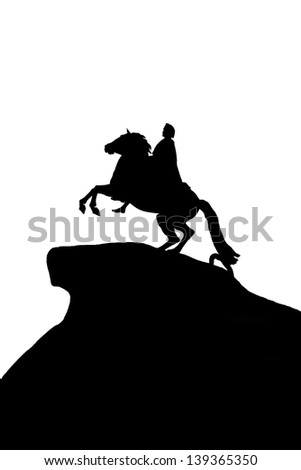 Black silhouette of a monument Bronze Horseman on a white background to St. Petersburg, Russia