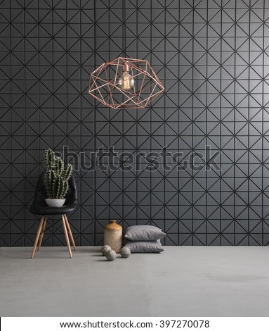 black textured wall and modern lamp black leather chair with cactus and pillow. concrete floor and ball - stock photo