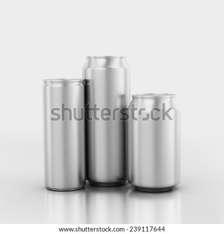 3 blank aluminum cans isolated on a Limbo - stock photo