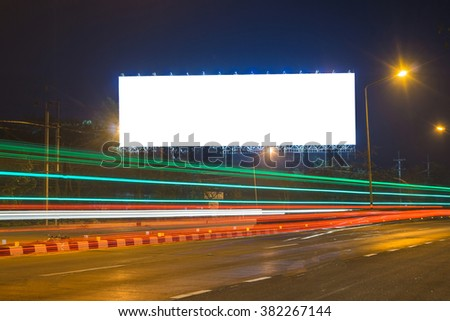 blank billboard at night time for advertisement. street light ,for product display montage,can be used for montage or display your products