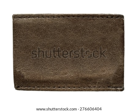 blank brown leather label on isolated on white background - stock photo