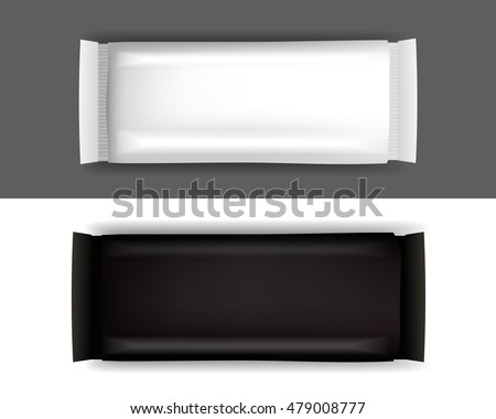 Blank Food Packaging For Biscuit, Wafer, Crackers, Sweets, Chocolate Bar, Candy Bar, Snacks . Design Template. Isolated On White Background.