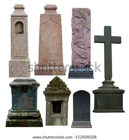 Blank gravestone, isolated on white - stock photo