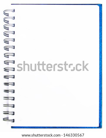 Blank note book with ring binder holes isolated on white