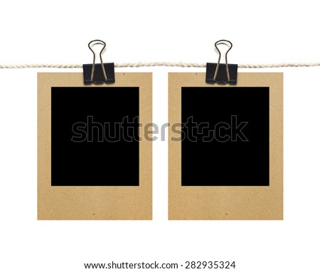2 Blank Old Photos On Rope, Isolated On White Background - stock photo