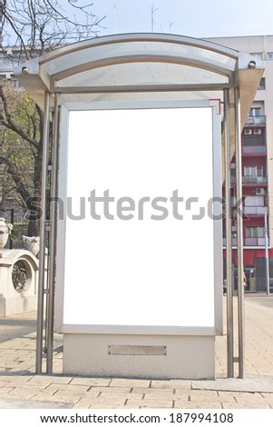 Blank white Sign on Bus station - stock photo
