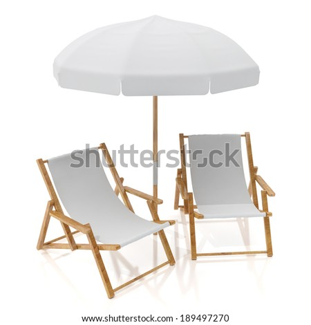 blank white two sun chairs and umbrella isolated on white background - stock photo