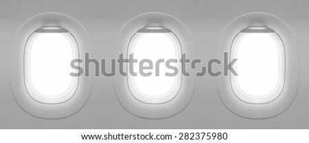 3 Blank window plane - stock photo