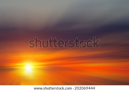 Blood-red clouds and sunset. Abstract composition - stock photo