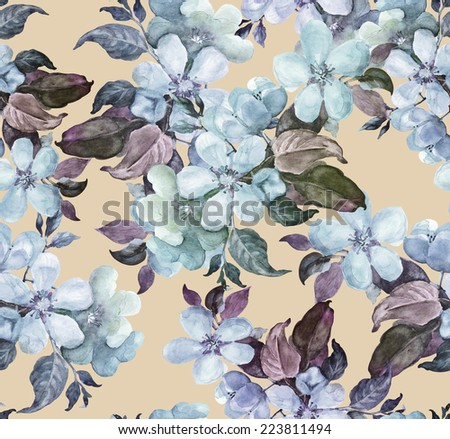 Blooming branch of apple seamless pattern. Watercolor .  - stock photo