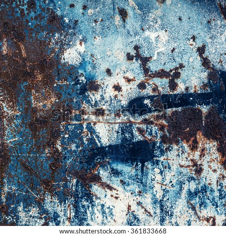Blue Abstract large rust surface background. Grungy background with space for text or image. Dark vintage wall - stock photo
