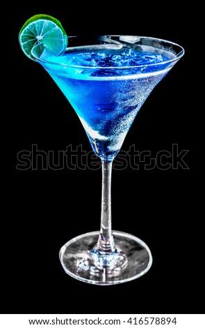 blue alcoholic drink  - stock photo