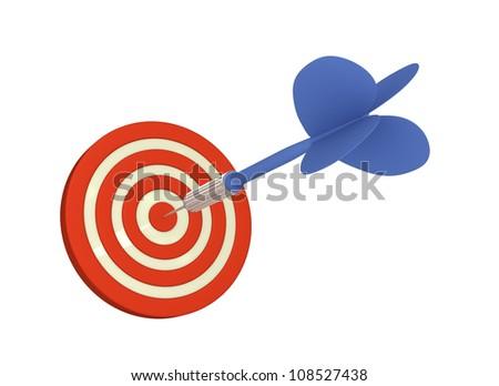 Blue arrow hits bulls eye (Isolated on White Background) - stock photo