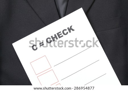 Blue color suit and the printed paper with text appear the word and blank table represent the business concept related idea.