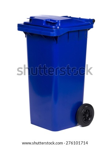 Blue colorful recycle bin isolated on white background - stock photo