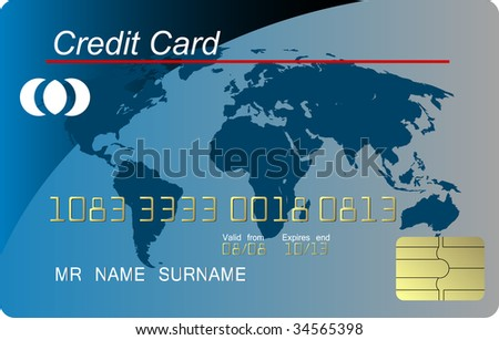 Blue credit card , highly detailed (jpg) - stock photo