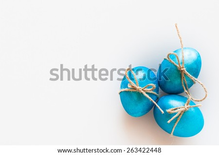 Blue easter eggs on white background. Selective focus. - stock photo