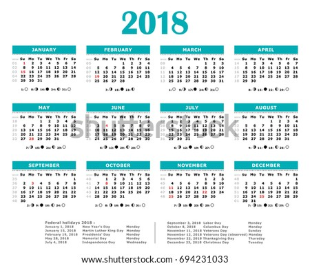 2018 Blue Green Yearly Calendar American Stock Illustration