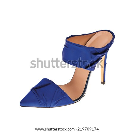 blue high heel on white background - stock photo
