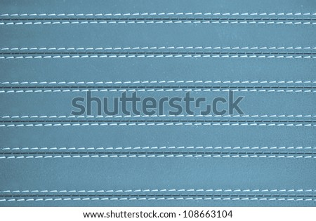 blue horizontal stitched leather for background - stock photo