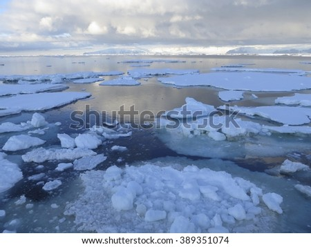 Blue Ice in the Ross Sea - stock photo