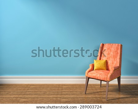 blue interior with pink armchair. 3d illustration - stock photo