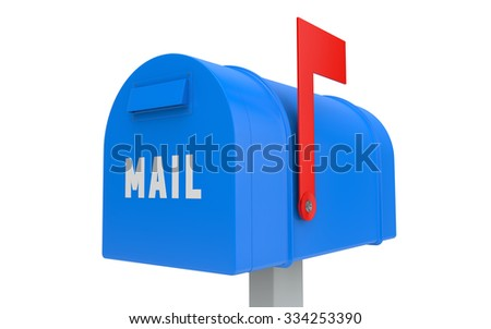 Blue mailbox with red flag up isolated on white with clipping path - stock photo