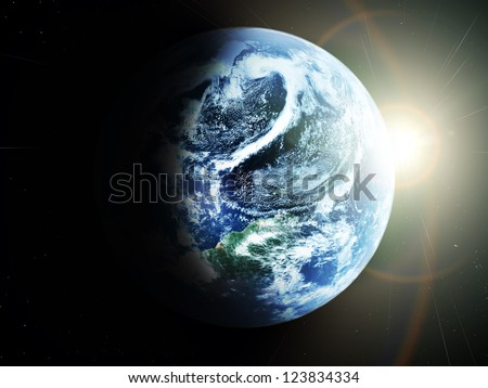 blue  planet earth  in space. - stock photo