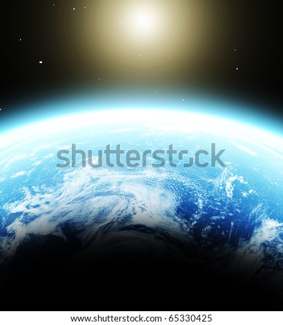 blue  planet earth  in space.
