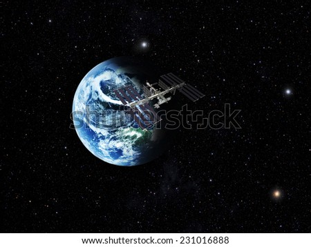 blue  planet earth  in space.Elements of this image furnished by NASA - stock photo